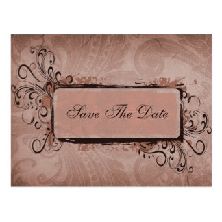 vintage pink  save the date announcement postcard