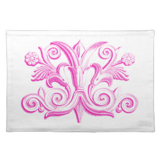 Vintage Pink Scroll Placemats