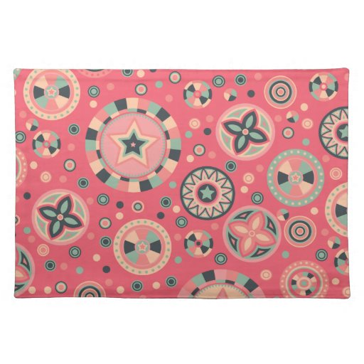 Vintage Pink Starry Circles Place Mats