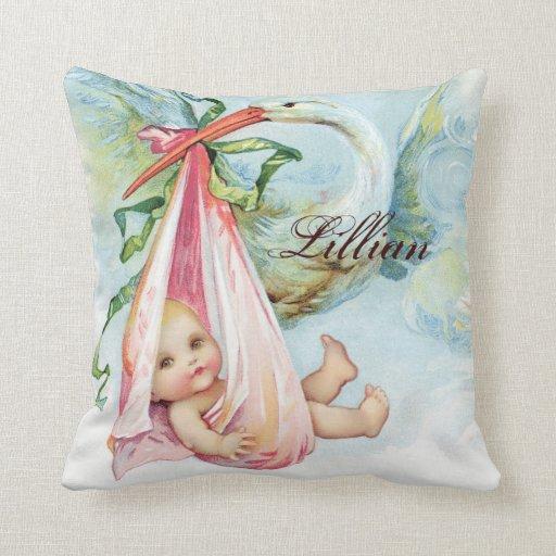 Vintage Pink Stork Baby Girl Nursery Pillows