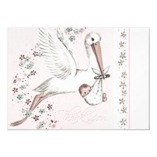 Vintage Pink Stork Baby Shower Thank You 4.5x6.25 Paper Invitation Card