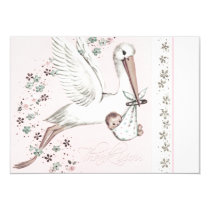 Vintage Pink Stork Baby Shower Thank You Card
