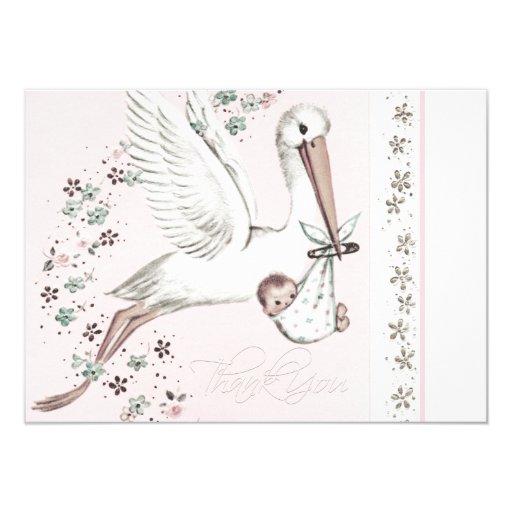 Vintage Baby Shower Thank You Cards: Vintage Pink Stork Baby Shower Thank You Card