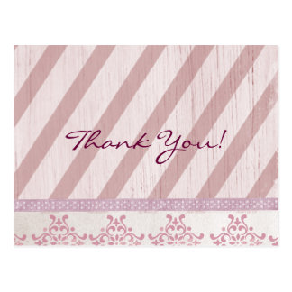 Vintage Pink Stripe Thank You Postcard