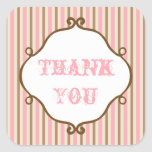 Vintage Pink Striped Thank You Stickers