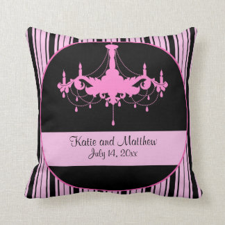 Vintage Pink Stripes and Chandelier Keepsake Throw Pillow