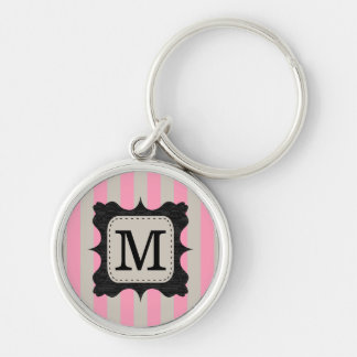 Vintage Pink Stripes Pattern Black Custom Monogram Keychain