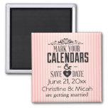 Vintage Pink Stripes Save the Date Fridge Magnet