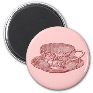 Vintage Pink Tea Cup Magnet Fridge Magnet