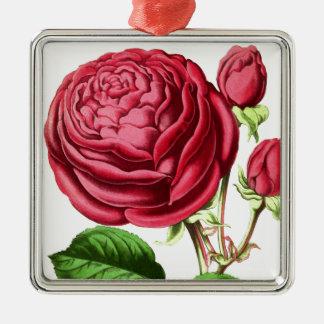 Vintage Pink Tea Rose Design Metal Ornament