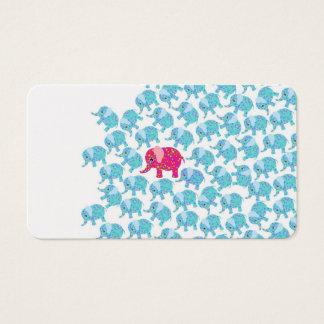 Vintage pink teal floral cute elephant pattern business card
