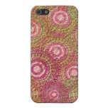 Vintage Pink Textured Dot and Circle Pattern iPhone 5 Covers