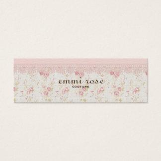 Vintage Pink Tiny Rose Print Slim Business Card