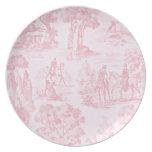 Vintage Pink Toile de Juoy Pattern del francés Plato Para Fiesta