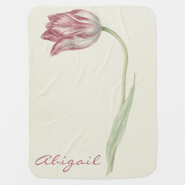 Vintage Pink Tulip Personalized Baby Blanket