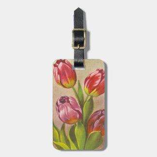 Vintage Pink Tulips Bag Tag