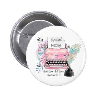Vintage Pink Typewriter Creative Writing Pinback Button