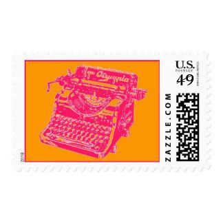 Vintage Pink Typewriter Postage Stamp