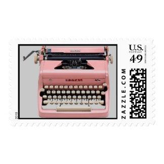 Vintage Pink Typewriter Postage Stamps