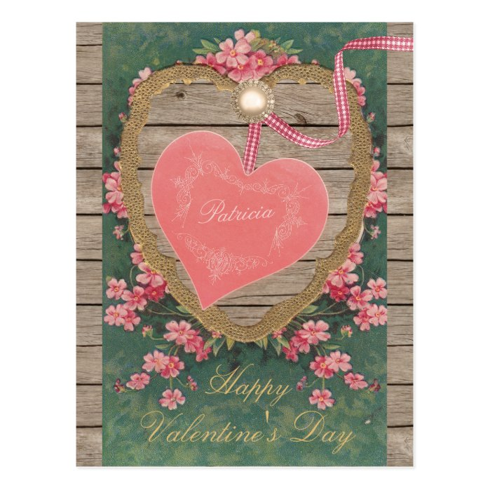 Vintage pink Valentine heart CC0832 Scrapbook Postcard