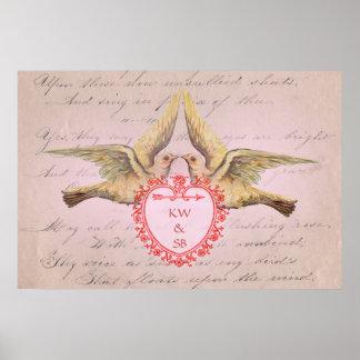 Vintage Pink Valentine Love Doves and Heart Poster