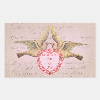 Vintage Pink Valentine Love Doves and Heart Rectangular Sticker