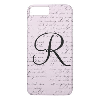 Vintage pink vintage paper monogram iPhone case