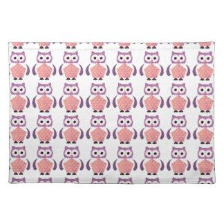 Vintage Pink Violet Owl Pattern Placemat