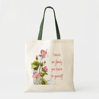 Vintage - Pink Water Lilies & Friends Quote Budget Tote Bag