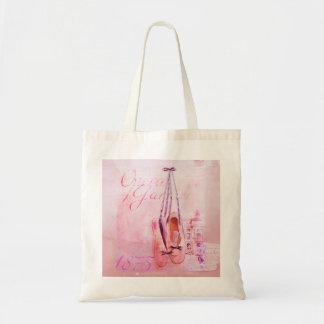 Vintage Pink Watercolor Ballerina Dancer Ballet Canvas Bag