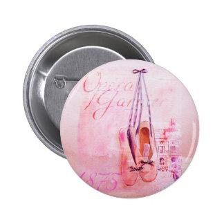 Vintage Pink Watercolor Ballerina Dancer Ballet Buttons
