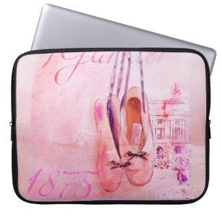 Vintage Pink Watercolor Ballerina Dancer Ballet Computer Sleeve