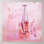 Vintage Pink Watercolor Ballerina Dancer Ballet Poster