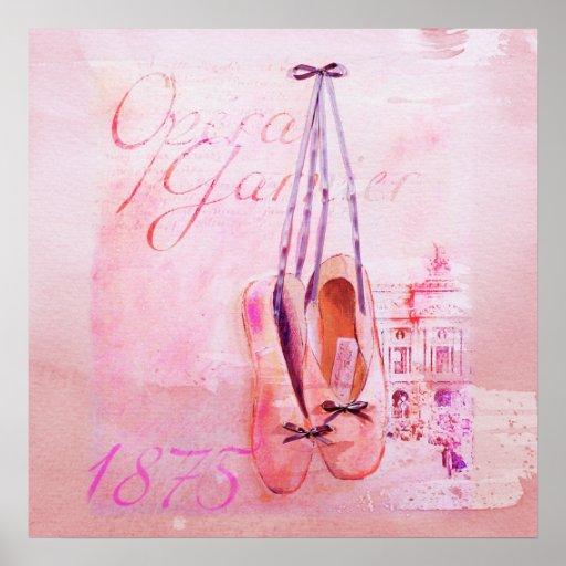 Vintage Pink Watercolor Ballerina Dancer Ballet Print