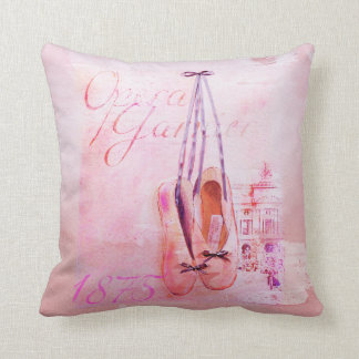 Vintage Pink Watercolor Ballerina Dancer Ballet Throw Pillow