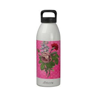 Vintage Pink Watercolor Rose Cute Polka Dots Water Bottle
