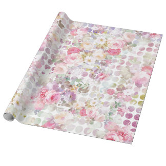 Vintage Pink Watercolor Roses Floral Polka Dots Wrapping Paper