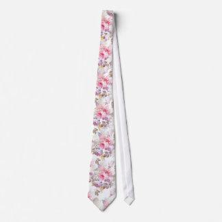 Vintage Pink Watercolor Trendy Roses Floral Neck Tie
