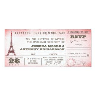 vintage pink wedding boarding pass to Paris 4x9.25 Paper Invitation Card