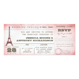 vintage pink wedding boarding pass to Paris Card