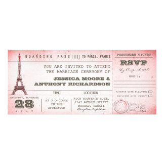 vintage pink wedding boarding pass to Paris Custom Invitation