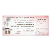 vintage pink wedding boarding pass with palms 4x9.25 paper invitation card (<em>$2.57</em>)