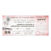 vintage pink wedding boarding pass with palms card (<em>$2.57</em>)
