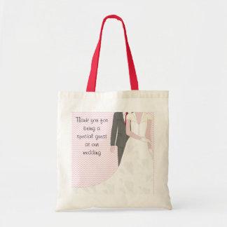 Vintage Pink Wedding Bride and Groom Tote Bag