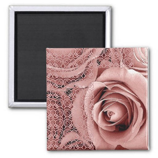 Vintage Pink Wedding Rose Bouquet with Lace 2 Inch Square Magnet