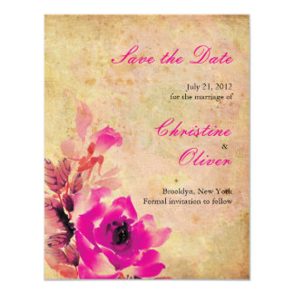 Vintage Pink Wedding Save the Date Card