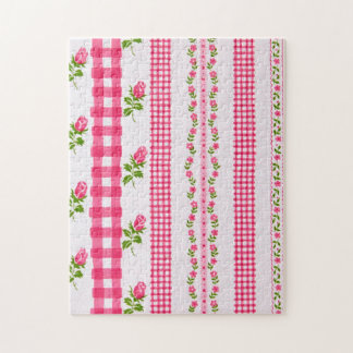 Vintage Pink White and Green Floral Wallpaper Jigsaw Puzzle