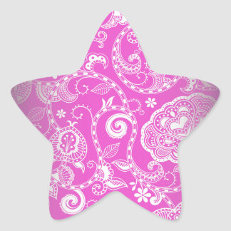 Vintage Pink White Floral Damask Pattern Star Sticker