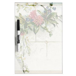 Vintage pink white green floral Dry-Erase board