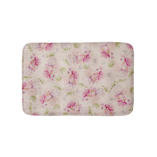 Vintage pink  white green roses flowers pattern bath mat